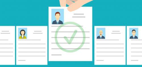 Job interview. Recruitment Hand.